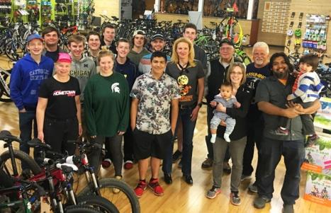 Hometown Bicycles crew, including Shaun Bhajan, Dawn Bhajan, and family