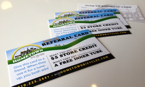 Hometown Bicycles Tune-Up Referral Cards